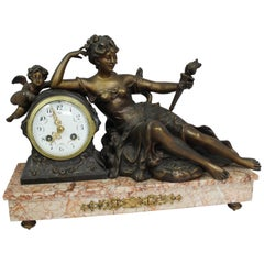 Antique French Classical Style Spelter and Rouge Marble Mantle Clock