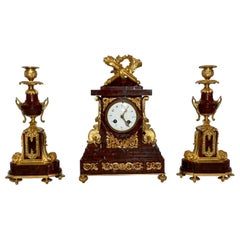 Antique French Clock and Candlesticks Vatican Rouge Marble