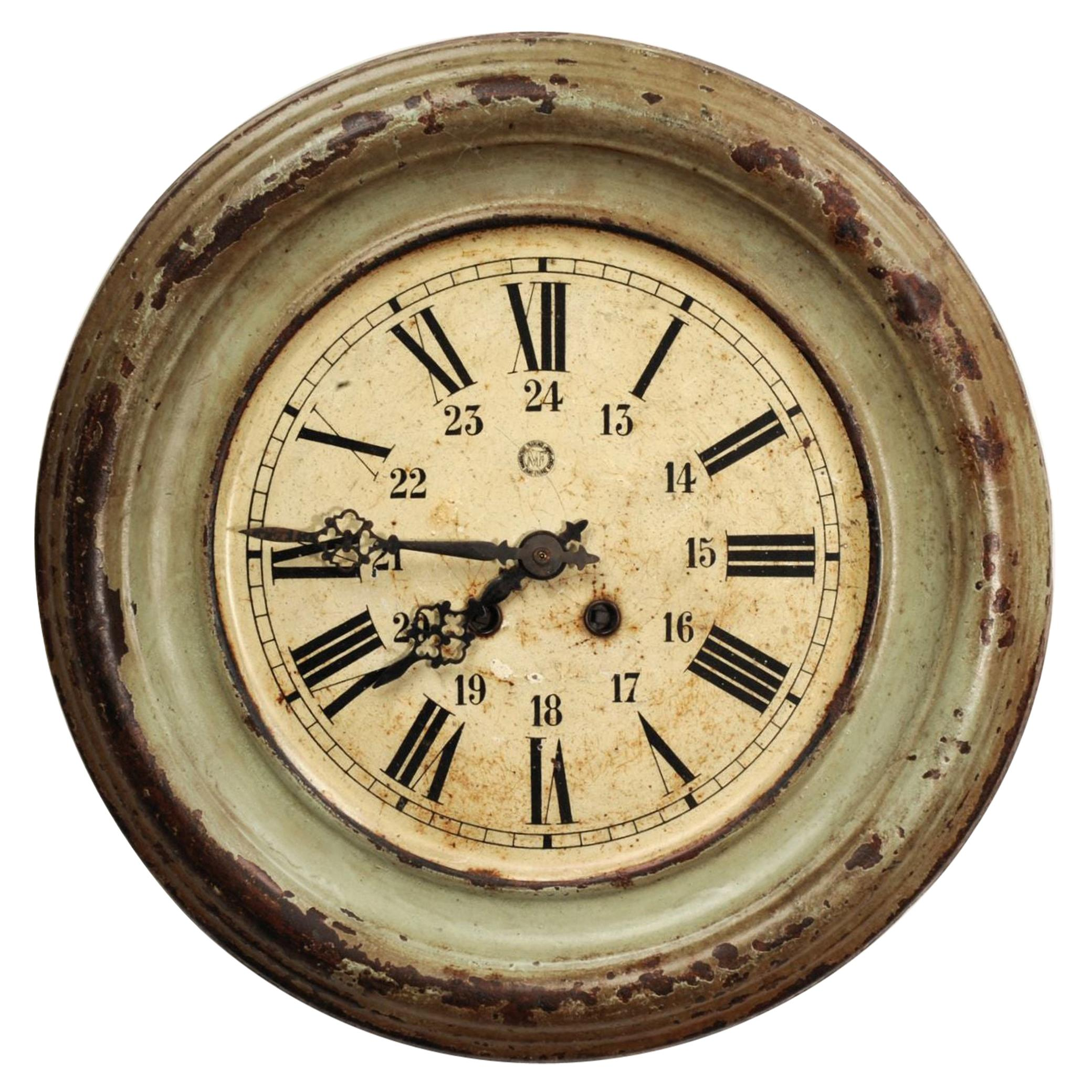 Antique French Clock Dial Face by Japy Frères, Industrial/Railway