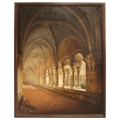 Antique French Cloister Oil Painting on Canvas, Mid-19th Century