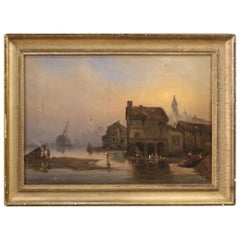 Antique French Coastal Landscape Painting from the 19th Century