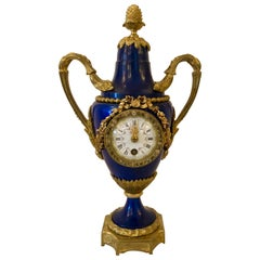 Antique French Cobalt Blue and Bronze Clock, circa 1890