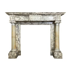 Antique French Columned Fireplace Mantel in Breche Marble