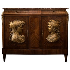 Antique French Commode with Bronze Reliefs and Red Breccia Marble Top