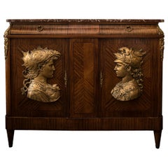 Antique French Commode with Bronze Reliefs