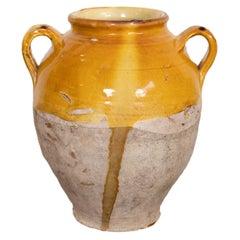 Antique French Confit Pot or Pot de Confit with Yellow Glaze