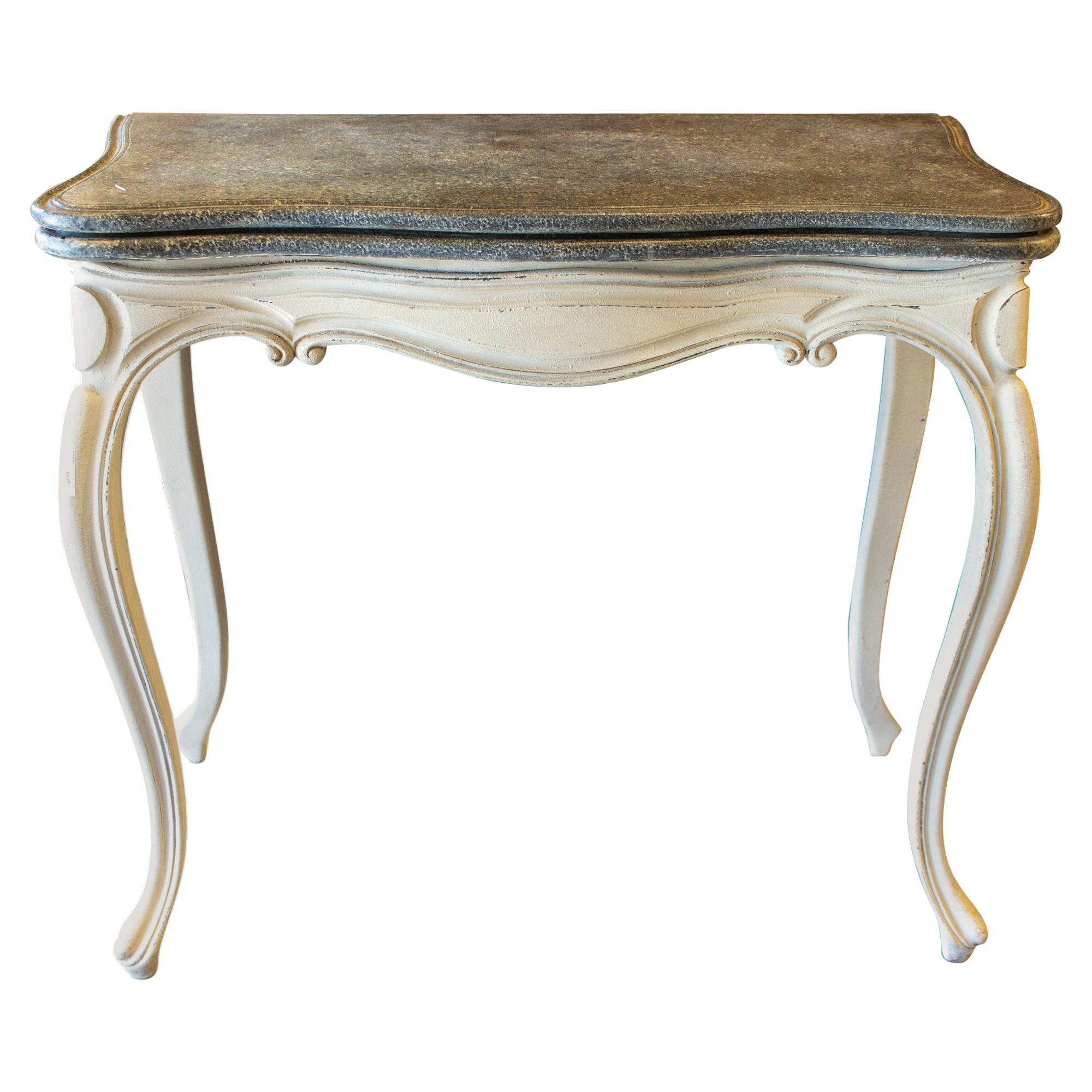Antique French Console and Game Table with Embossed Leather Top & Painted Finish