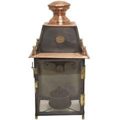 Antique French Copper and Brass Lantern, L. Dorvaux Paris, 19th Century