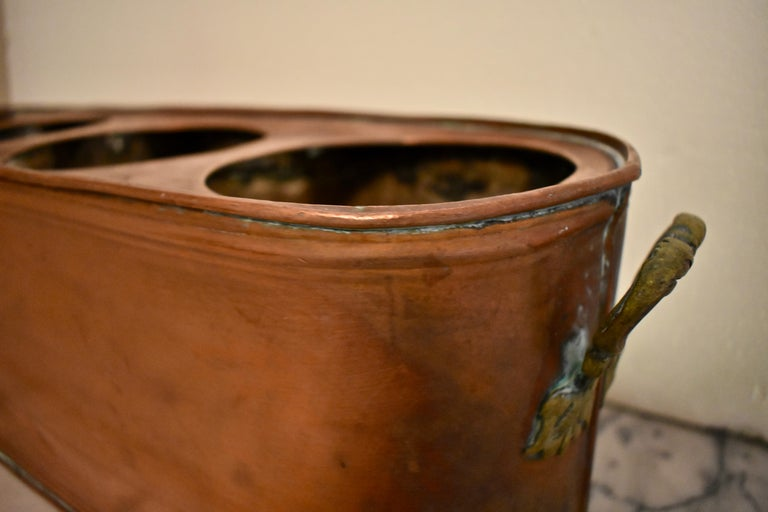 20th Century Rustic Country French Copper and Brass Handled Potted Plant Holder, circa 1900 For Sale