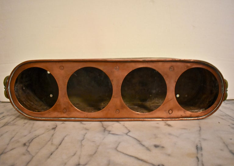 Rustic Country French Copper and Brass Handled Potted Plant Holder, circa 1900 For Sale 2