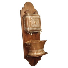 Antique French Copper Coat of Arms Lavabo and Basin on Wooden Wall Stand