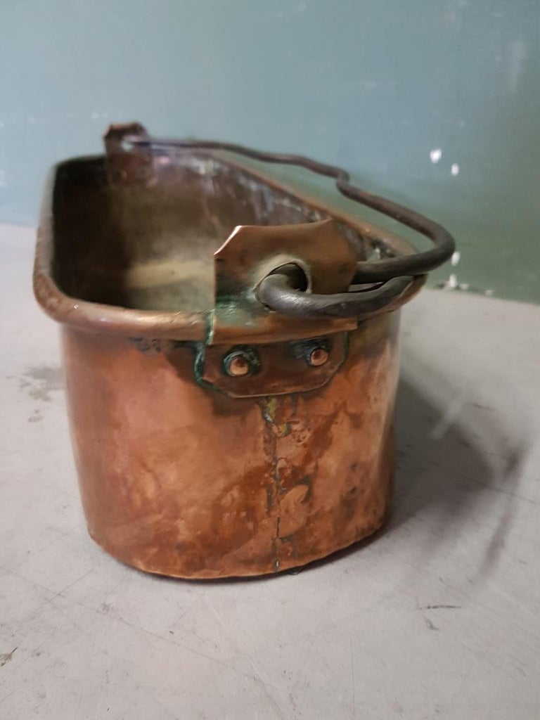 Antique French Copper Fish Pan Decorated with Coat of Arms In Good Condition For Sale In Raalte, NL