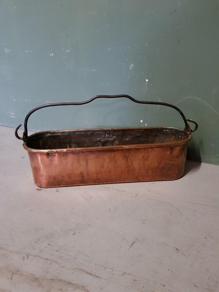 19th Century Antique French Copper Fish Pan Decorated with Coat of Arms For Sale