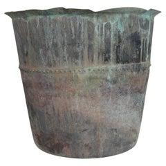 Antique French Copper Riveted Planter Pot