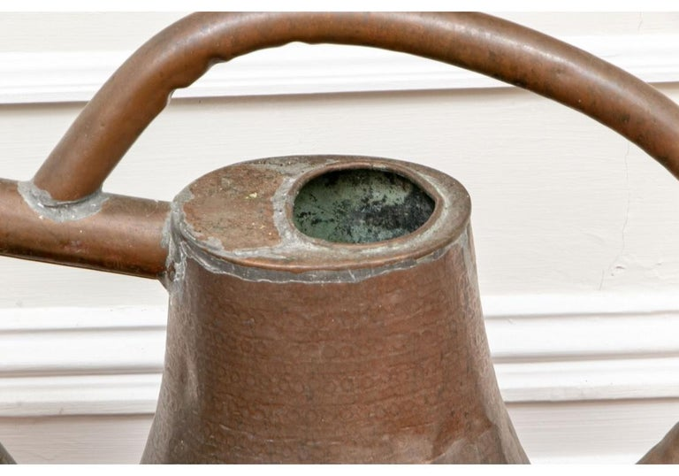 Primitive Antique French Copper Watering Can For Sale