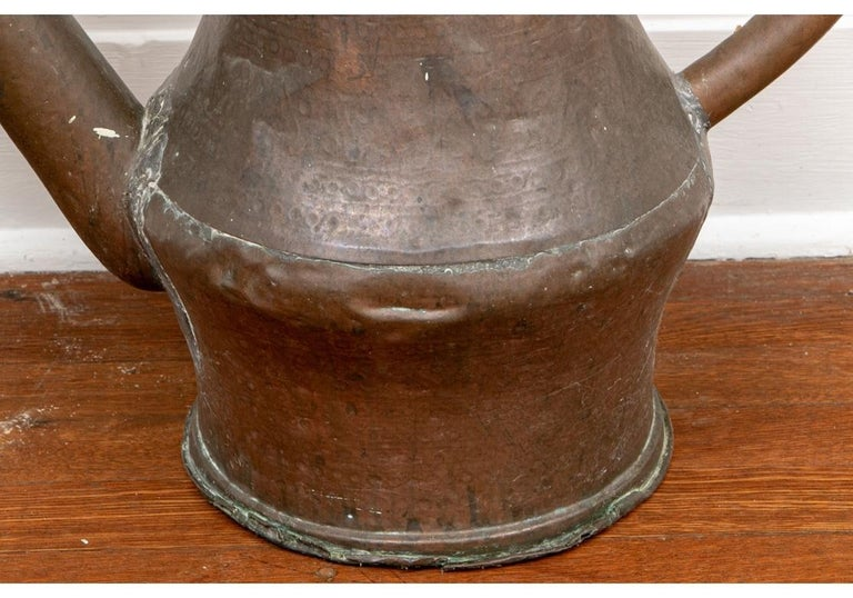 Antique French Copper Watering Can In Distressed Condition For Sale In Bridgeport, CT