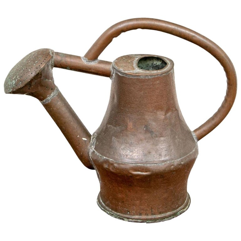 Antique French Copper Watering Can For Sale