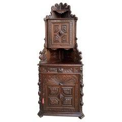 Antique French Corner Cabinet Bookcase Carved Oak Black Forest Renaissance