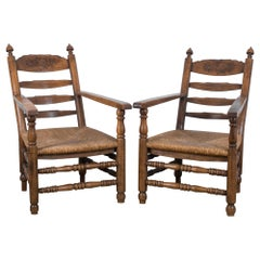 Antique French Country Armchairs, a Pair