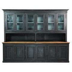Antique French Country Black Patinated Glass Door Buffet