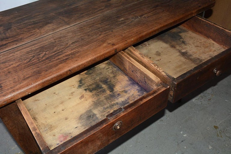 Antique French Country Desk with Two Drawers For Sale 2