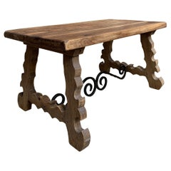 Antique French Country Oak Coffee Table Bench Catalan Spanish Iron Bleached