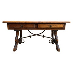 Antique French Country Oak Coffee Table Bench Spanish Catalan Ranch