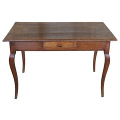 Antique French Country Oak Library Writing Desk Hall Table Provincial Farmhouse