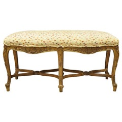 Antique French Country Provincial Louis XV Style 6 Leg Upholstered Window Bench