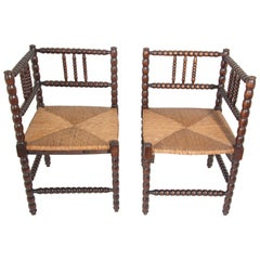 Antique French Country Rush Seat Corner Chairs
