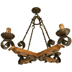 Antique French Country Style Wrought Iron & Oak Chandelier Work of Lighting Art