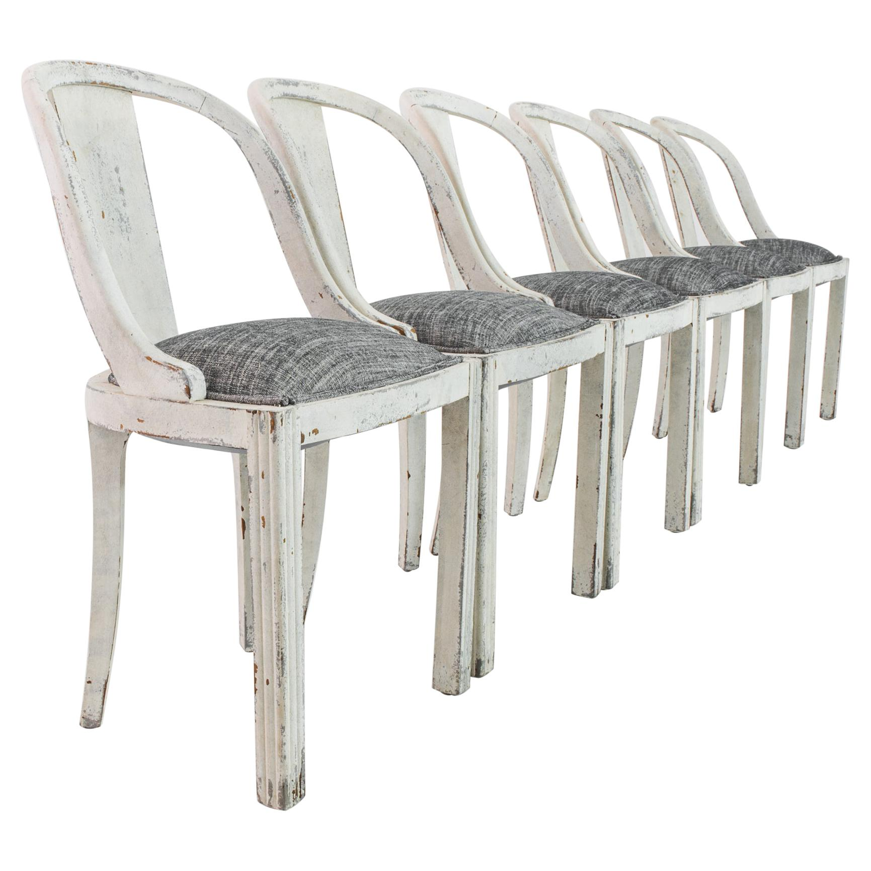 Antique French Country White and Grey Dining Chairs, Set of Six
