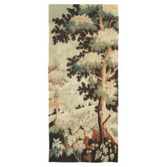 Antique French Cream and Green Floral Wool Tapestry Rug