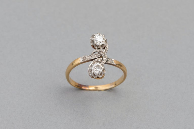Antique French Crossover Ring Belle Époque In Good Condition For Sale In Saint-Ouen, FR