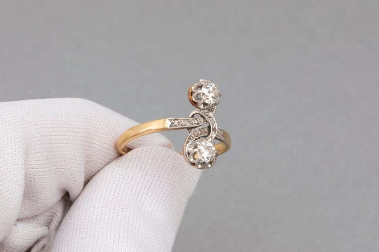 Women's Antique French Crossover Ring Belle Époque For Sale