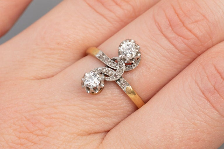 Antique French Crossover Ring Belle Époque For Sale 1
