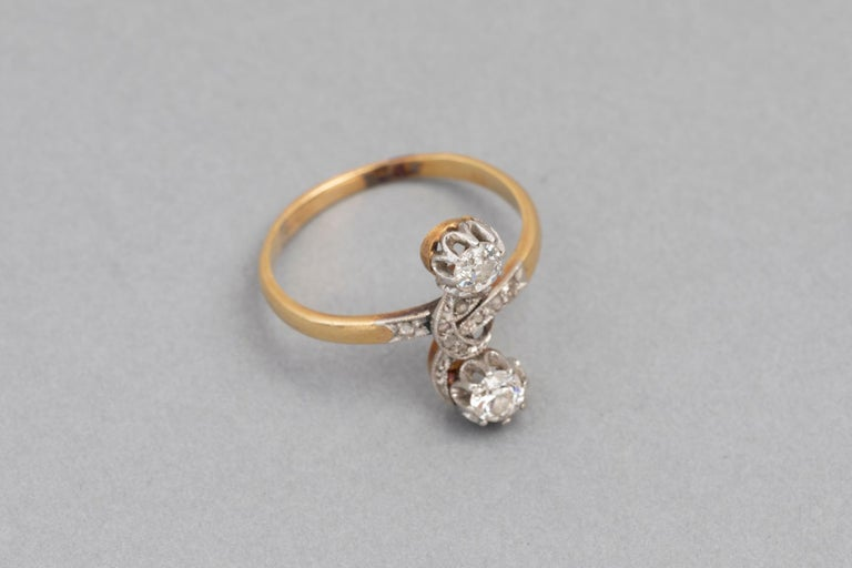 Antique French Crossover Ring Belle Époque For Sale 3