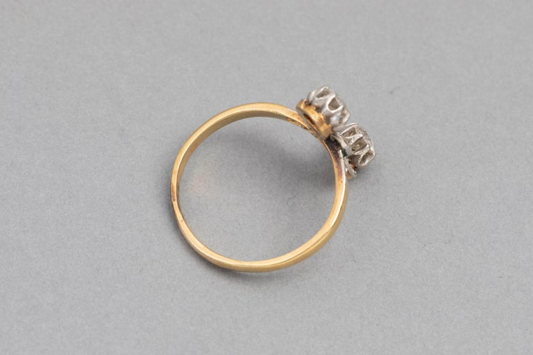 Antique French Crossover Ring Belle Époque For Sale 4