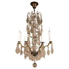 Antique French Crystal and Brass Chandelier