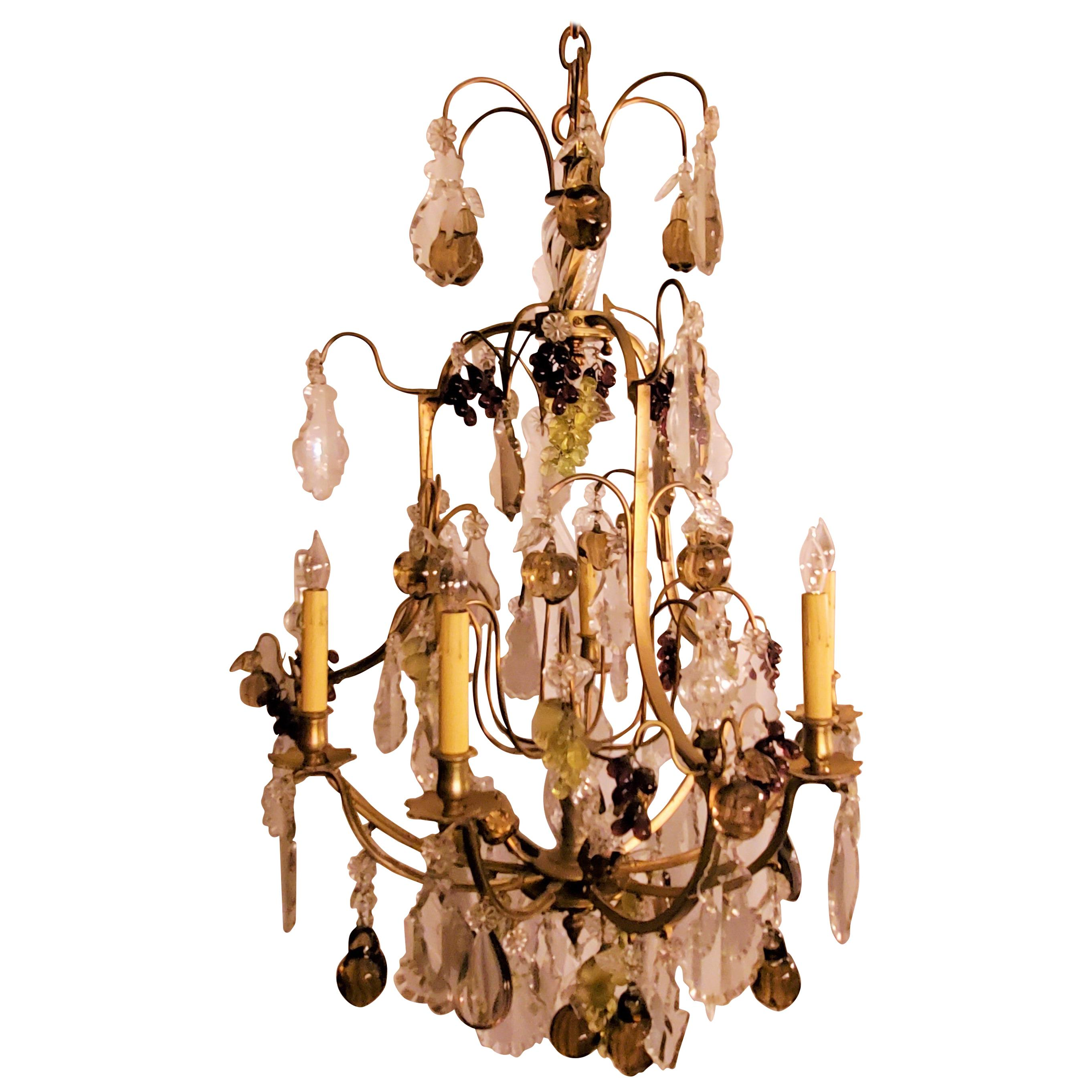 Antique French Crystal and Bronze Chandelier with Baccarat Colored Fruit