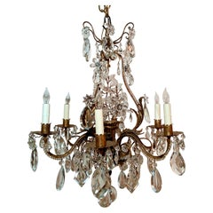 Antique French Crystal and Iron Chandelier, Circa 1890