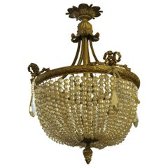 Antique French Crystal Basket Chandelier