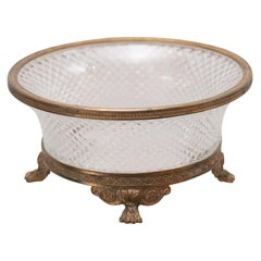 Antique French Cut Crystal and Bronze Mount Candy Dish