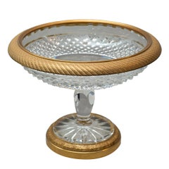 Antique French Cut Crystal and Bronze Tazza / Compote / Dish