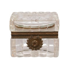 Antique French Cut Crystal Box with Bronze Mounts