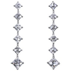 Antique French Cut Diamond Platinum Drop Earrings in Platinum by Leon Mege