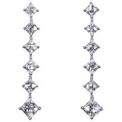 Antike Französischer Schliff Diamant Platin Tropfen Ohrringe von Leon Mege