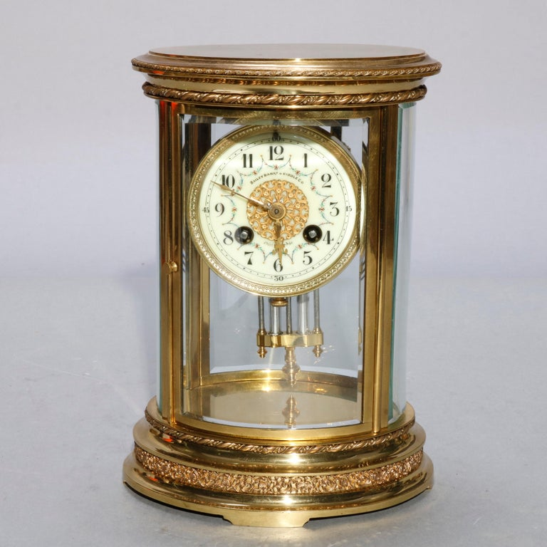 French D'Argent for Bailey, Banks and Biddle Crystal Regulator Clock, circa 1900 In Good Condition For Sale In Big Flats, NY