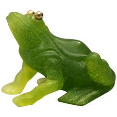 Antique French Daum Nancy Pate de Verre Figural Frog, 20th Century