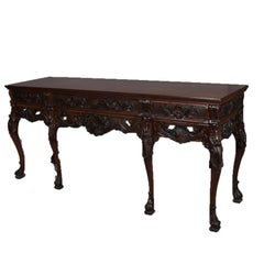 Antique French Deeply Carved Walnut Sideboard, 20th Century